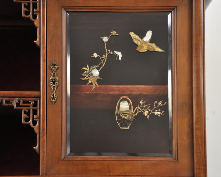 Japanese style display cabinet with birds-2