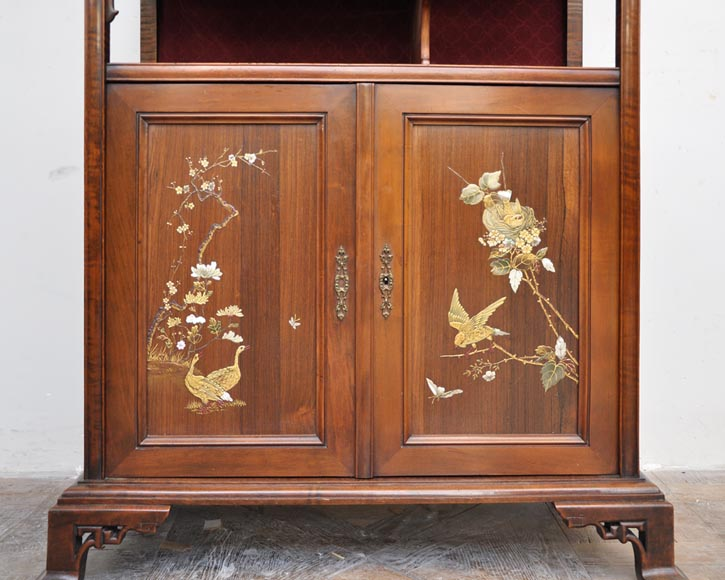 Japanese style display cabinet with birds-5