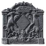 Antique cast iron fireback with coat of arms of Pénancoët de Kéroualle
