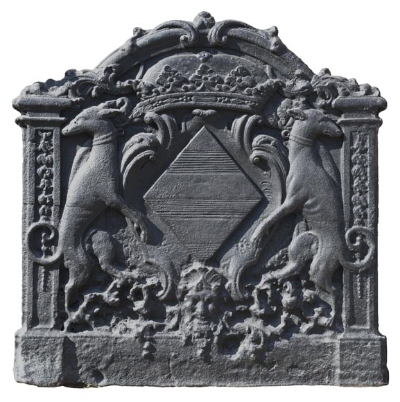 Antique cast iron fireback with coat of arms of Pénancoët de Kéroualle-0