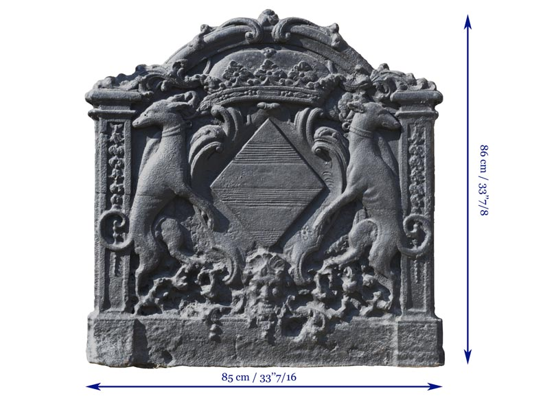 Antique cast iron fireback with coat of arms of Pénancoët de Kéroualle-7