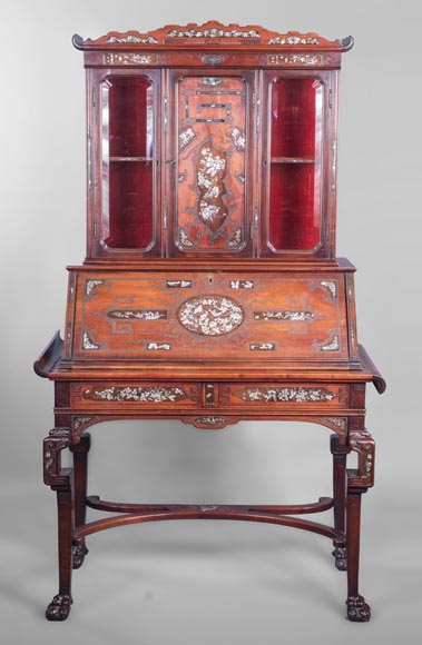 Japanese style secretary with mother-of-pearl butterfly decoration-0