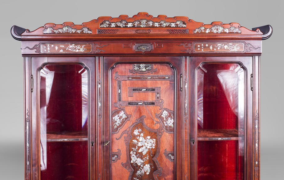 Japanese style secretary with mother-of-pearl butterfly decoration-1