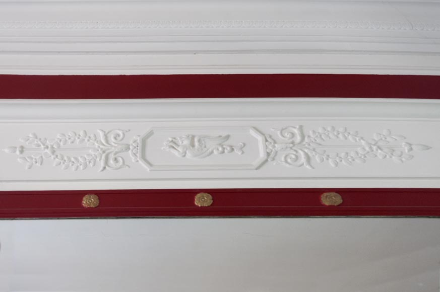 Antique Empire style overmantel pierglass decorated with a chimera, rosettes and vegetal patterns-1