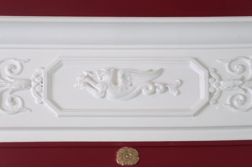 Antique Empire style overmantel pierglass decorated with a chimera, rosettes and vegetal patterns-2