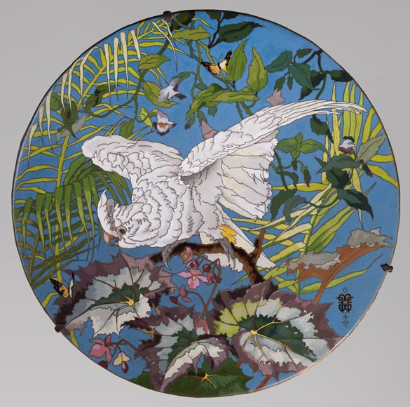 André-Fernand THESMAR (1843-1912) and Ferdinand BARBEDIENNE (1810-1892) - Ornamental japanese style plate-0