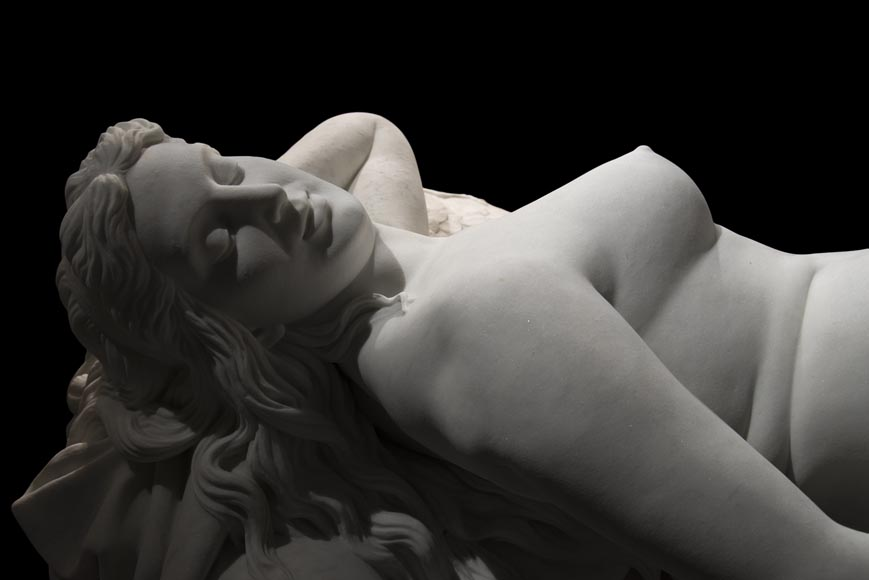 Splendid Statuary Carrara marble statue representing « Armida's dream » by Amand-Désiré-Honoré Barré, World's Fair of 1878-2