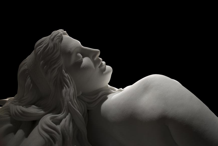 Splendid Statuary Carrara marble statue representing « Armida's dream » by Amand-Désiré-Honoré Barré, World's Fair of 1878-3