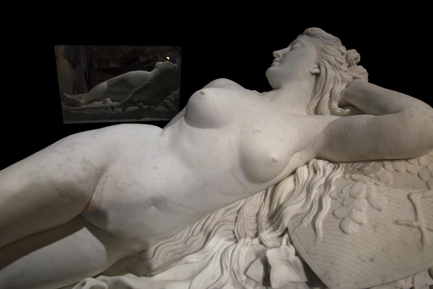 Splendid Statuary Carrara marble statue representing « Armida's dream » by Amand-Désiré-Honoré Barré, World's Fair of 1878-4