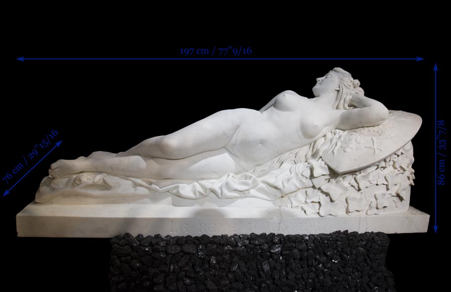 Splendid Statuary Carrara marble statue representing « Armida's dream » by Amand-Désiré-Honoré Barré, World's Fair of 1878-13