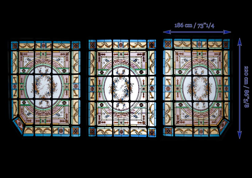 Set Of Three Ceiling Panels In Stained Glass Made For An Hotel S Dining Room Stained Glasses