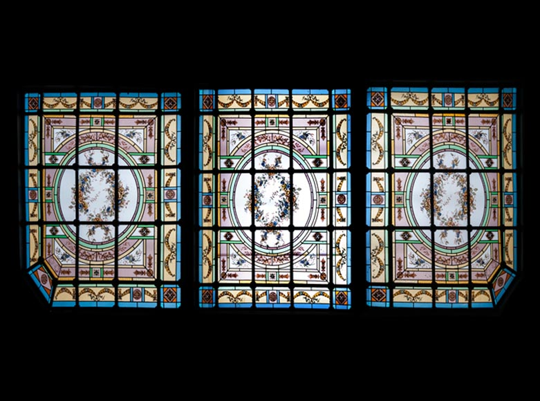 Set of three ceiling panels in stained glass made for an hotel's dining room-0