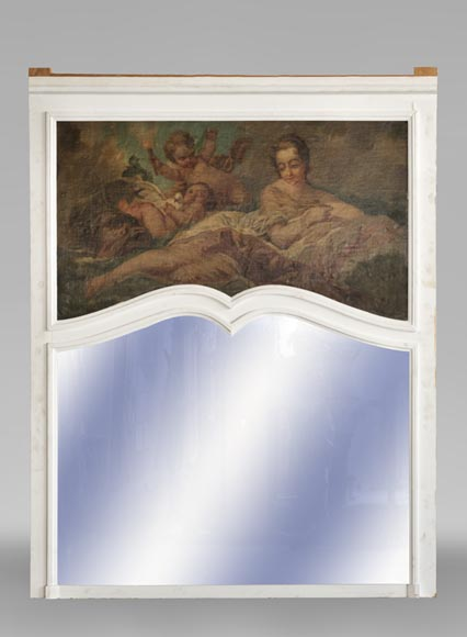 Beautiful antique Louis XV style overmantel mirror with an oil on canvas representing a woman and putti-0