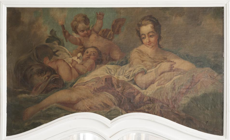 Beautiful antique Louis XV style overmantel mirror with an oil on canvas representing a woman and putti-1