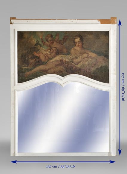 Beautiful antique Louis XV style overmantel mirror with an oil on canvas representing a woman and putti-6