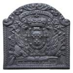 Beautiful fireback with French coat of arms and military symbols