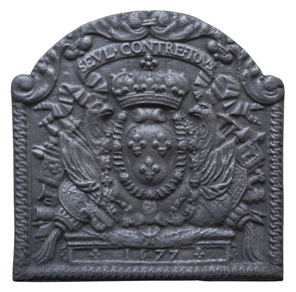 Beautiful fireback with French coat of arms and military symbols-0