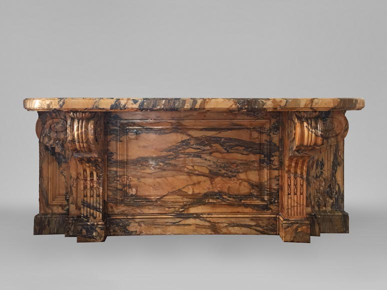 Important Napoleon III period console, made out of Jaune de Sienne marble-0