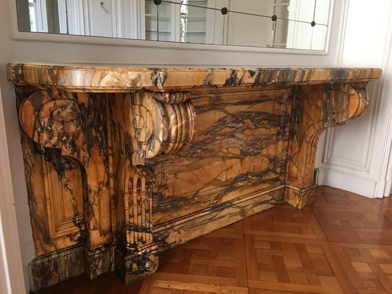 Important Napoleon III period console, made out of Jaune de Sienne marble-1