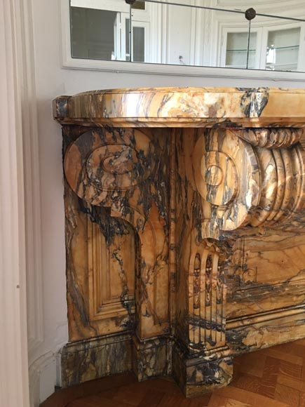 Important Napoleon III period console, made out of Jaune de Sienne marble-2