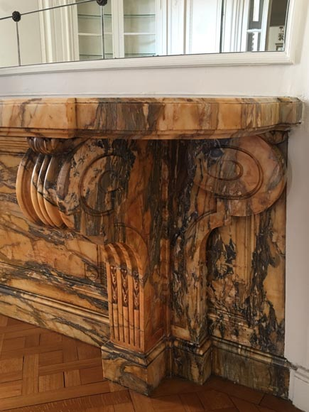 Important Napoleon III period console, made out of Jaune de Sienne marble-3
