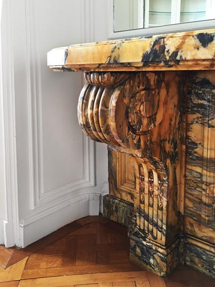 Important Napoleon III period console, made out of Jaune de Sienne marble-4