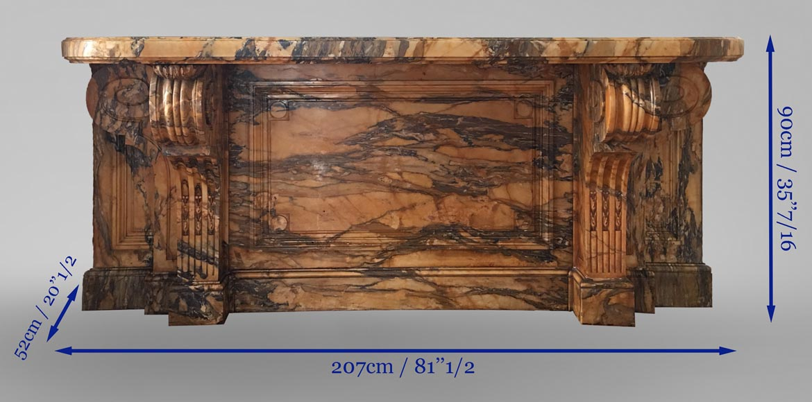 Important Napoleon III period console, made out of Jaune de Sienne marble-6