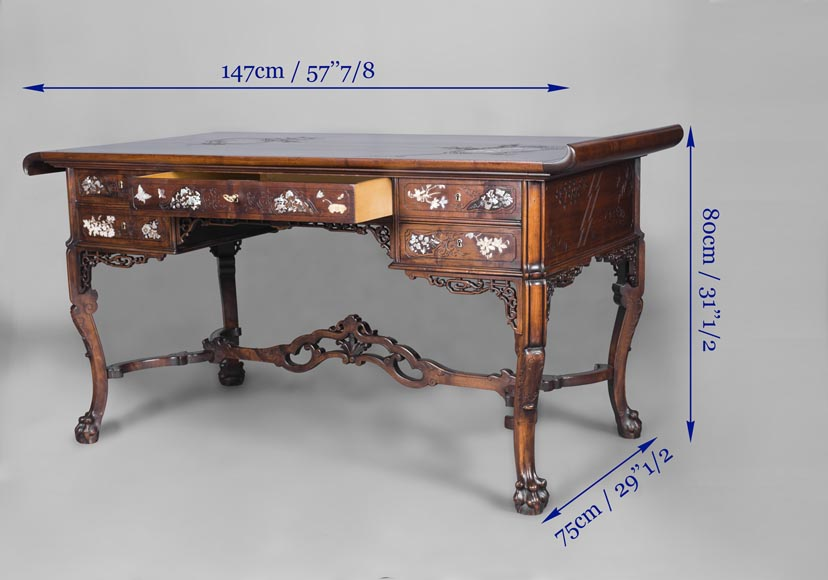 Maison des Bmbous Alfred PERRET and Ernest VIBERT (attributed to) - Japanese flat desk with mother-of-pearl and ivory decoration-10