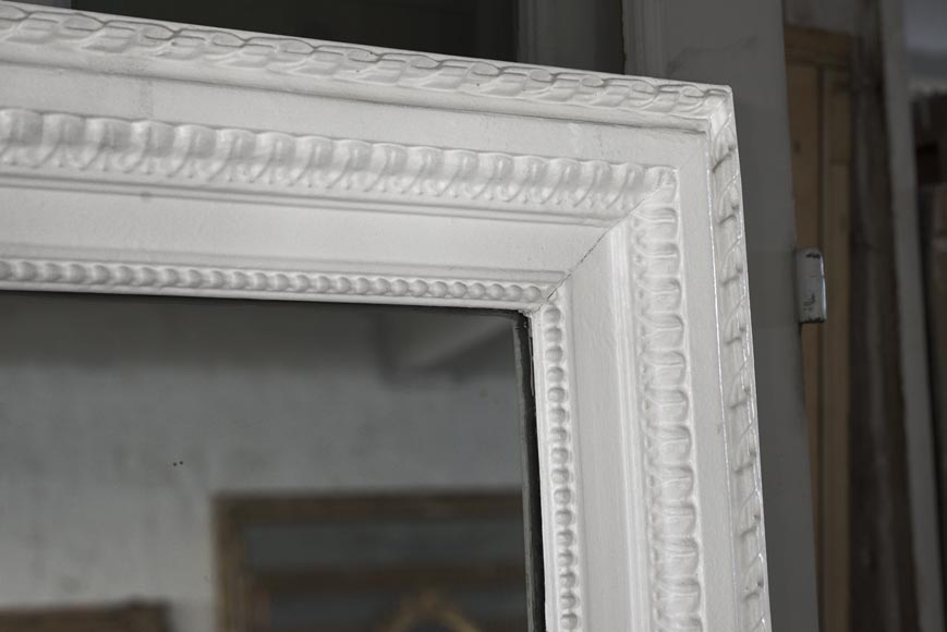 An antique Louis XVI style overmantel mirror in stucco, 19th century-2