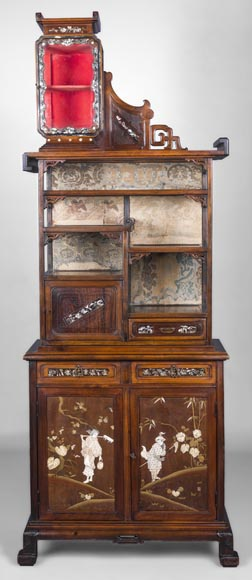 Maison des Bambous Alfred PERRET et Ernest VIBERT (attributed to) - Far Eastern inspired window cabinet-0