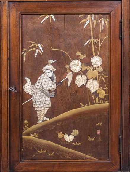 Maison des Bambous Alfred PERRET et Ernest VIBERT (attributed to) - Far Eastern inspired window cabinet-2
