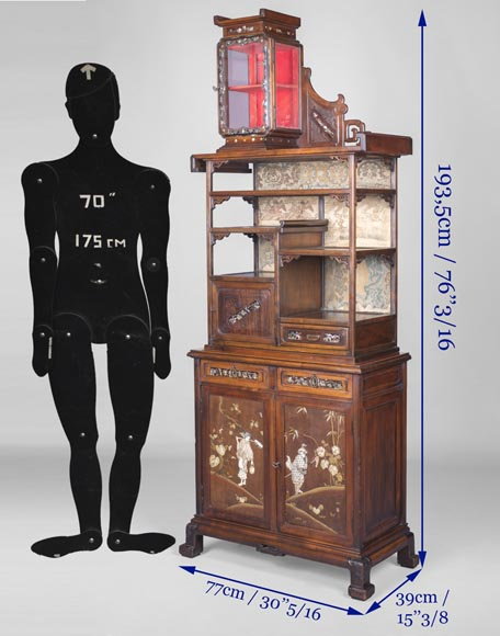Maison des Bambous Alfred PERRET et Ernest VIBERT (attributed to) - Far Eastern inspired display cabinet-12