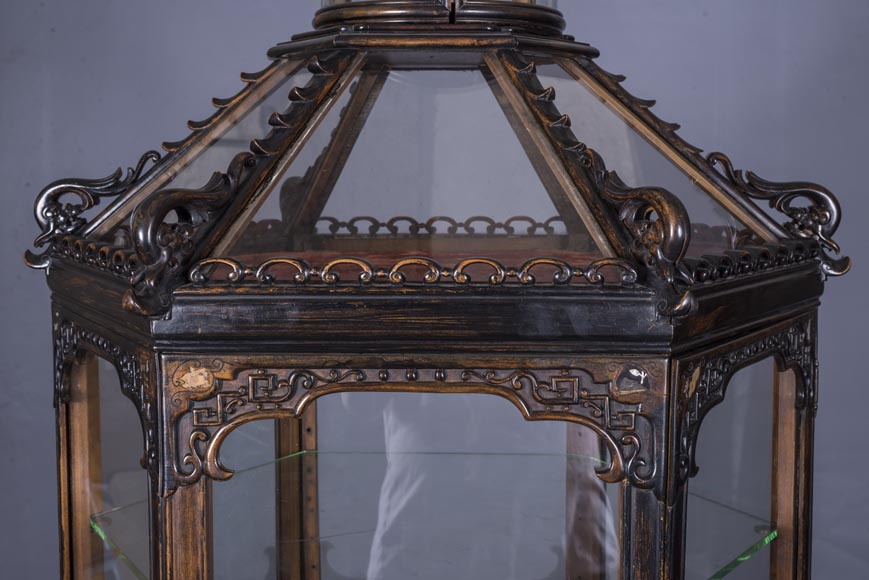 Display cabinet of Far Eastern inspiration, hexagonal form-5