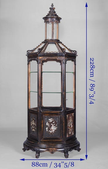 Display cabinet of Far Eastern inspiration, hexagonal form-6