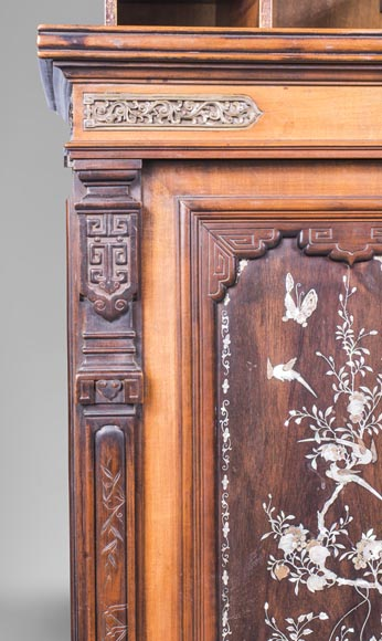 Japanese style cabinet bottom decorated with birds and mother-of-pearl butterflies-4