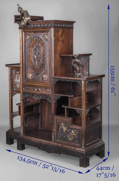 Gabirel VIARDOT (1830-1906) - Japanese style shelf cabinet with mother of pearl decoration-13