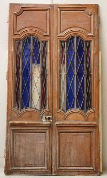 Wood door from the 18th century with 19th century iron openings-0