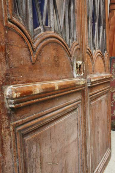 Wood door from the 18th century with 19th century iron openings-5