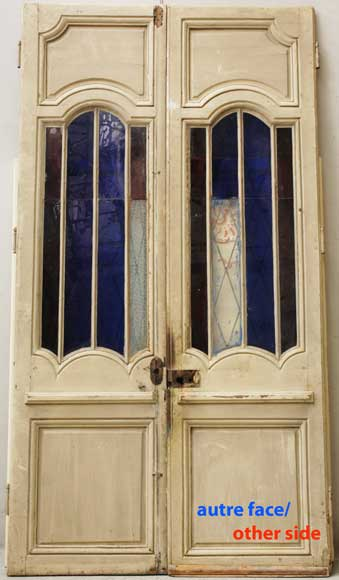 Wood door from the 18th century with 19th century iron openings-7