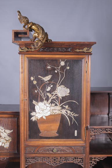 Gabriel VIARDOT (1830-1906) - Large Japanese cabinet with Foo dog-2