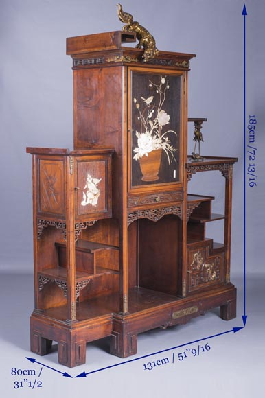 Gabriel VIARDOT (1830-1906) - Large Japanese cabinet with Foo dog-14