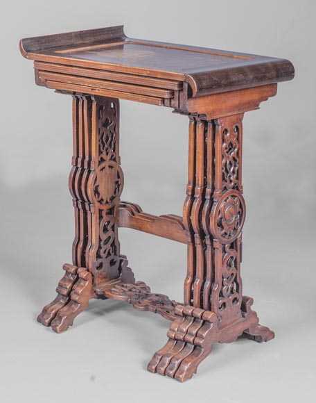 Suite of four Japanese style nesting tables with inlaid decoration of a grasshopper-0