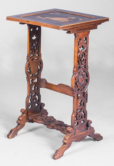 Suite of four Japanese style nesting tables with inlaid decoration of a grasshopper-5