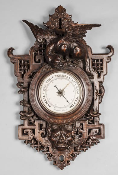 Japanese-style barometer with dragon and Foo dog decoration-0