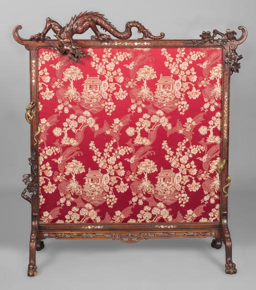 Cyrille RUFFIER DES AIMES (1844-1916) (attributed to) - Japanese style fire screen with dragons-0