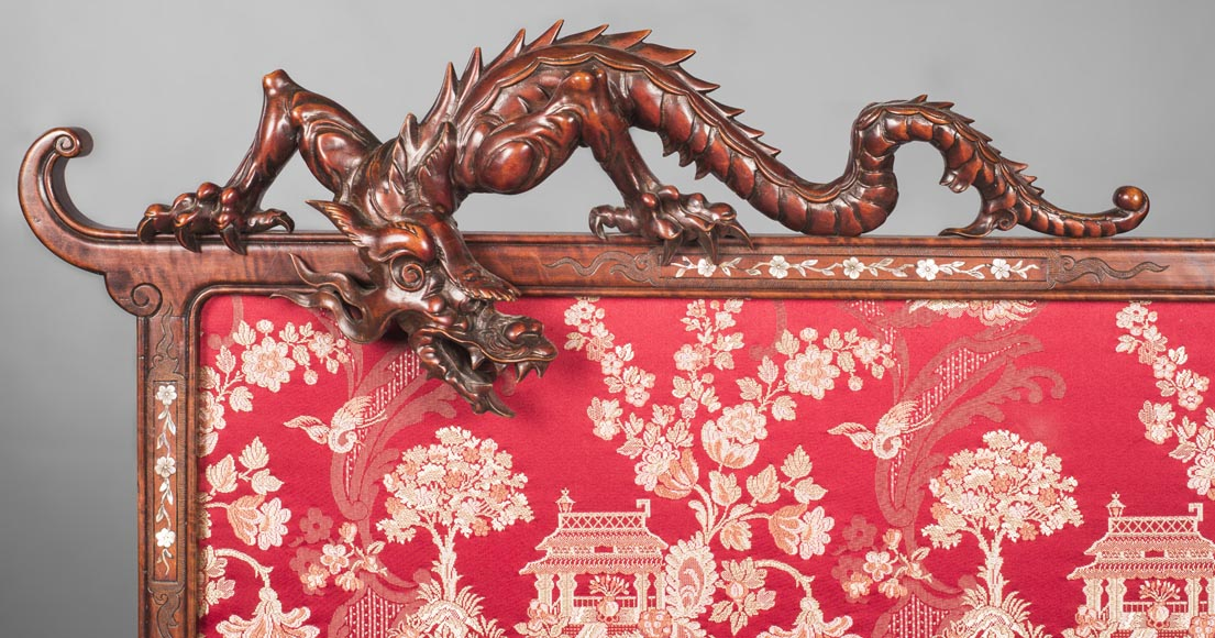 Cyrille RUFFIER DES AIMES (1844-1916) (attributed to) - Japanese style fire screen with dragons-4