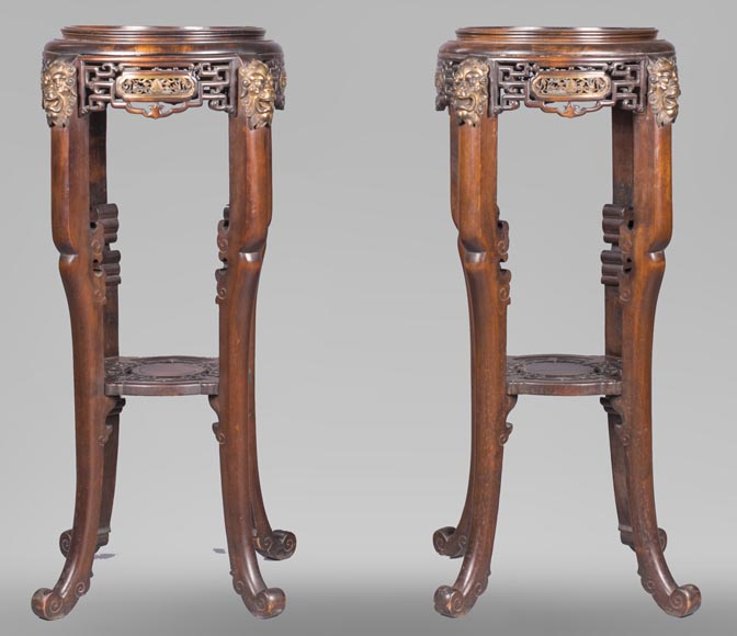 Gabriel VIARDOT (attributed to) - Pair of japanese style pedestals with lion's heads-0