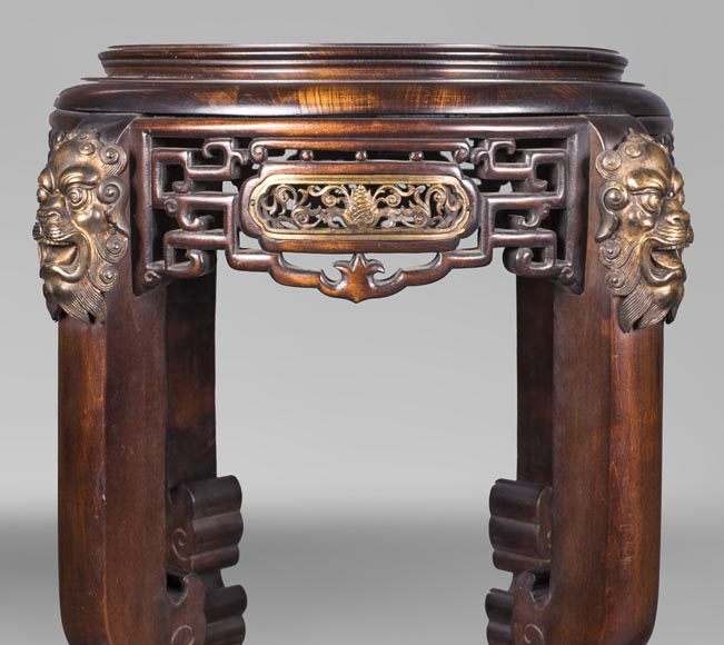 Gabriel VIARDOT (attributed to) - Pair of japanese style pedestals with lion's heads-1
