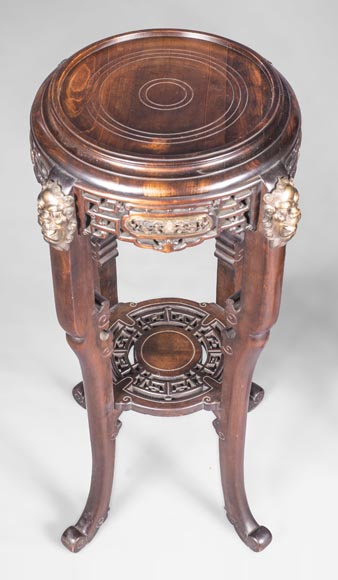 Gabriel VIARDOT (attributed to) - Pair of japanese style pedestals with lion's heads-5