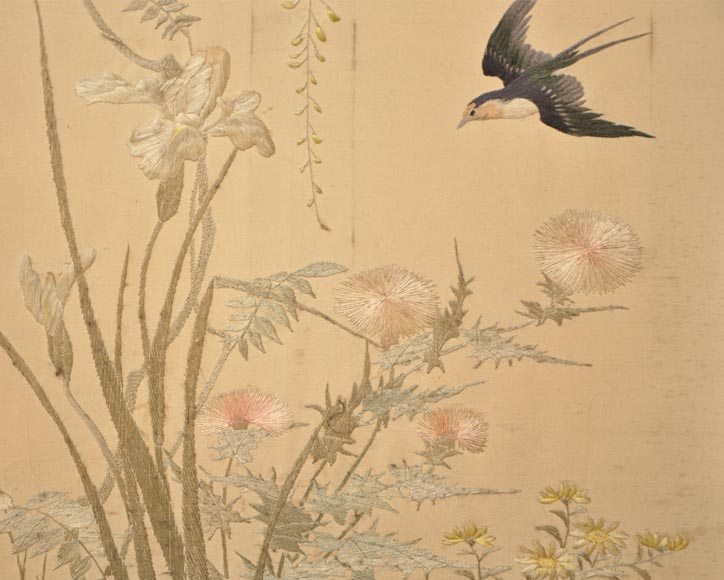 Maison des Bambous Alfred PERRET et Ernest VIBERT (attributed to) - Japanese style embroidered silk screen-7
